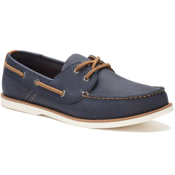 SONOMA Goods for Life™ Mitchell Men's Boat Shoes ($70) ❤ liked on Polyvore featuring men's fashion, men's shoes, men's loafers, blue, mens shoes, mens slipon shoes, mens lace up shoes, mens boat shoes and mens deck shoes