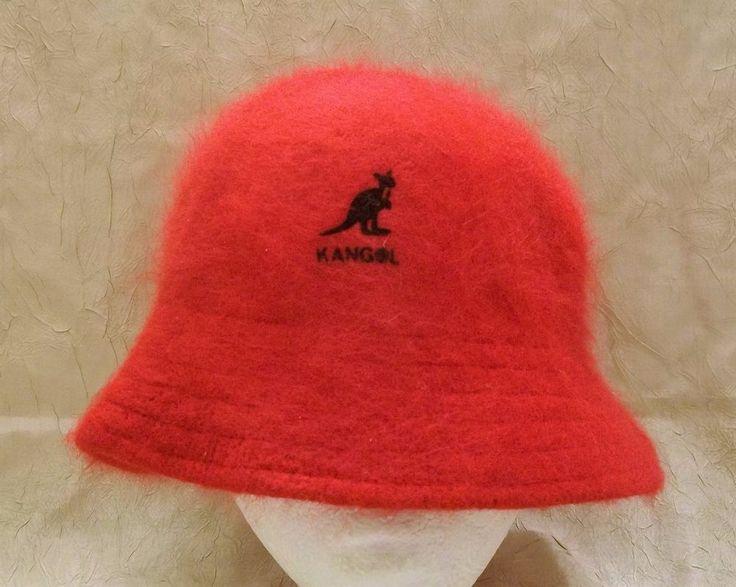 KANGOL Red Bucket Hat Soft Angora Cap One Size #Kangol #Bucket