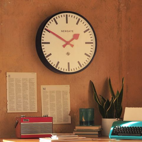 Clock, vintage station clock, office, home office, country style office