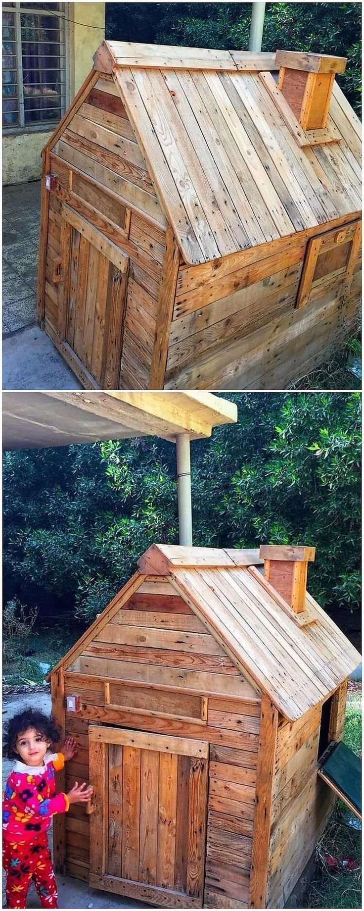 Wood pallet is not just meant for the house furniture decoration and this is much evident from this image wood pallet idea! See how simply and in creative way, this wood pallet has been used as the outdoor playhouse structural design effect. It can purposely be used in your garden house concept work. #outdoorplayhouseideas #gardenplayhouse
