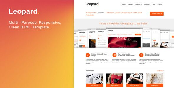 Leopard - Responsive and Clean HTML Template - ThemeForest Item for Sale