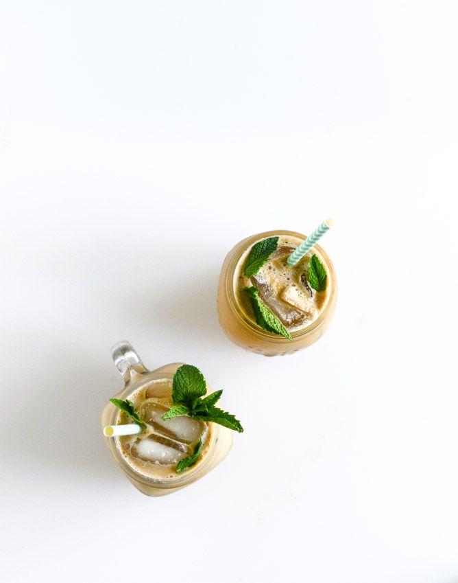 fresh mint iced coffee - make the perfect mint syrup! I howsweeteats.com