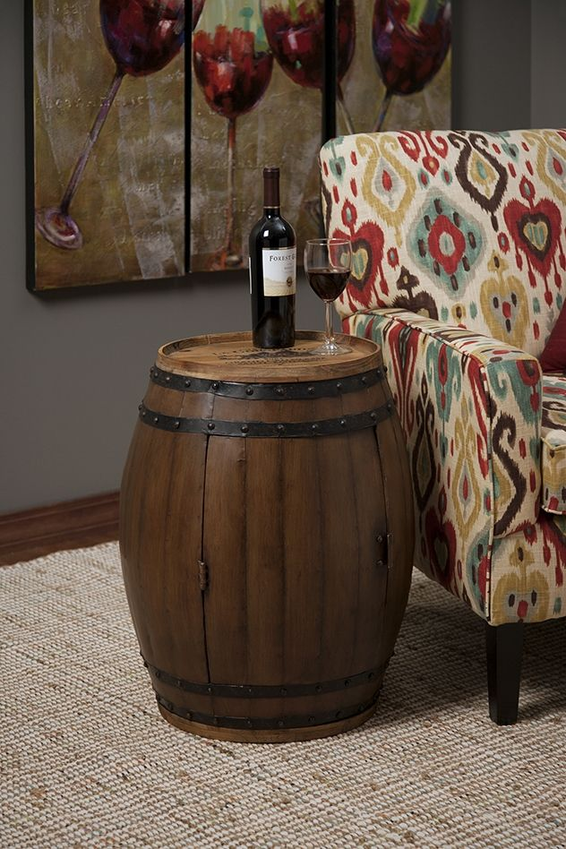 Napa Barrel Table - Not only does this rustic wine barrel add an interesting side table, it opens to reveal an interior wine rack for storing favorite reserves.