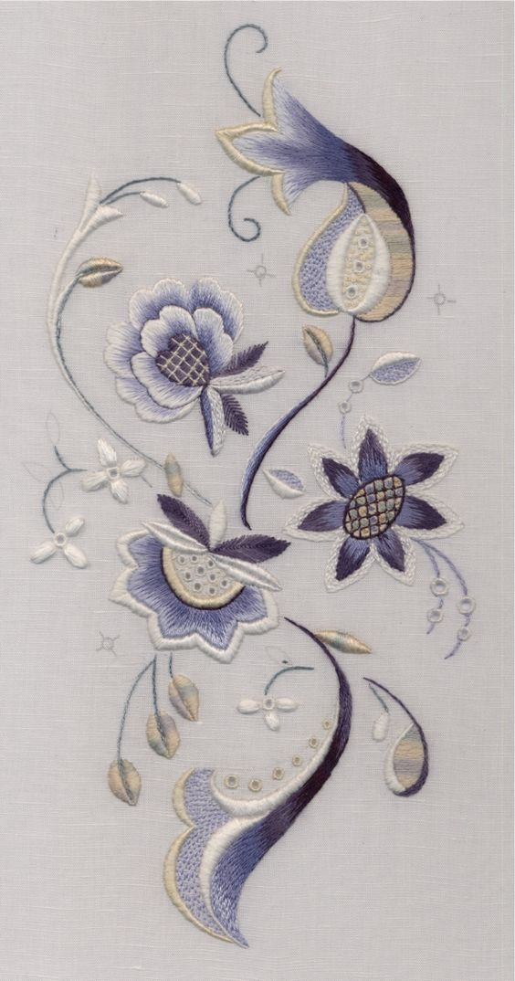 Blue White Jacobean Trish Burr: