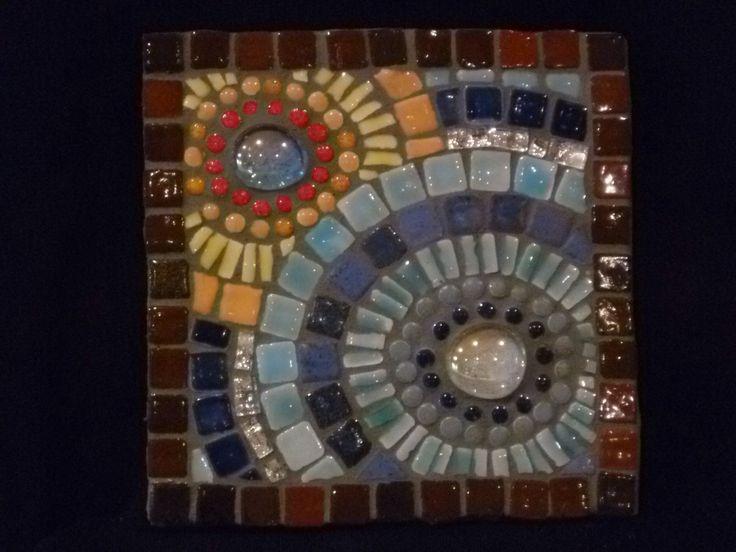 Miniature mosaic tile. Ceramic tile, glass, mirror