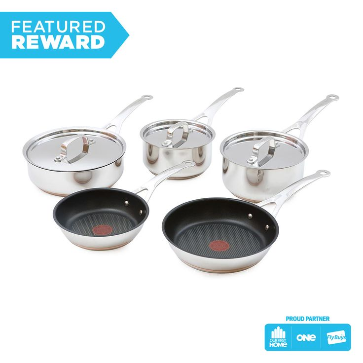 Jamie Oliver Tefal 5pc Stainless Steel Copper Cookware Set #flybuysnz #jamieoliver #OFHNZ#2200points #OFHNZ