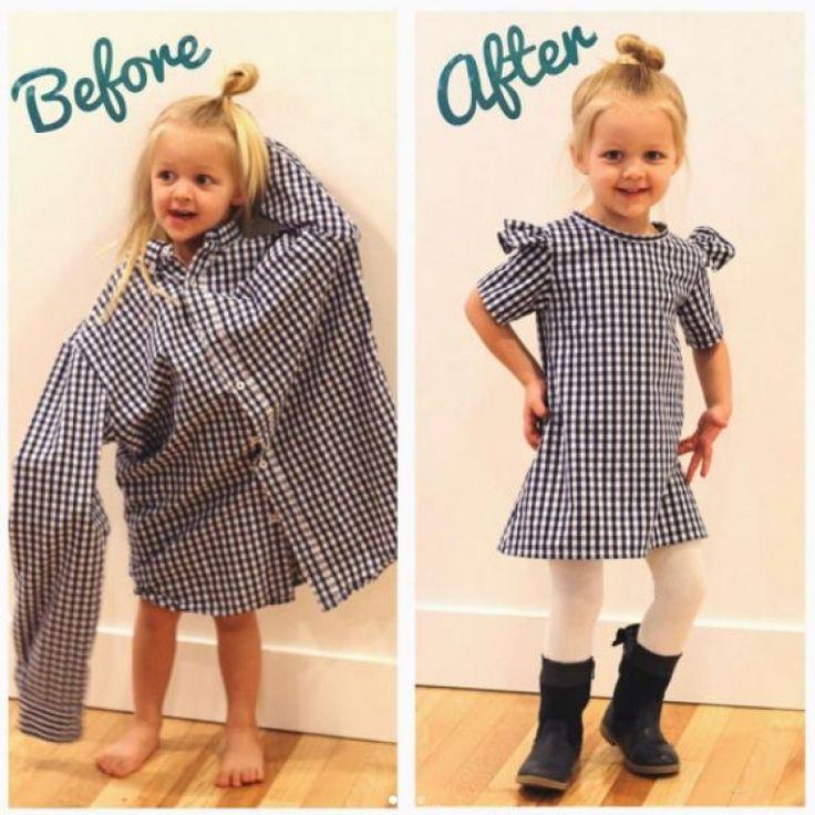 Aus alten Hemden zaubert diese Mama wunderschöne Kindersachen