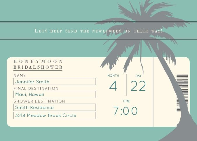 The Honeymoon Bridal Shower is a fun and creative way to invite your guests to your honeymoon themed party. Instead of gifts, you could consider asking your guests to chip in to the honeymoon fund. Customize the colors and fonts and view it in the instant preview.