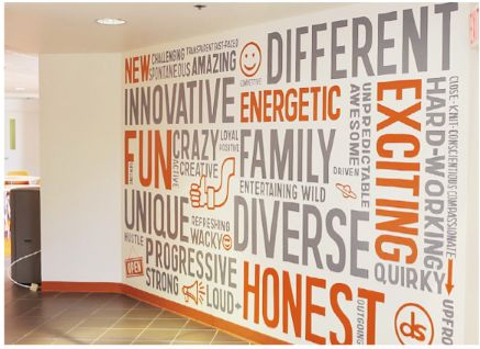 Values wall graphic Grey and orange typography wall graphic Word Wall environmental design - http://www.vinylimpression.co.uk/pages/custom-wall-stickers