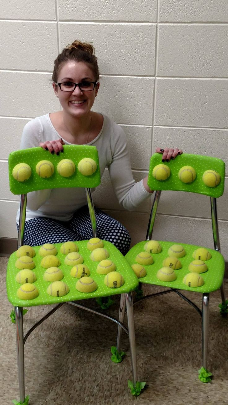 Tennis balls on the seat and backrest provide an alternative texture to improve sensory regulation.