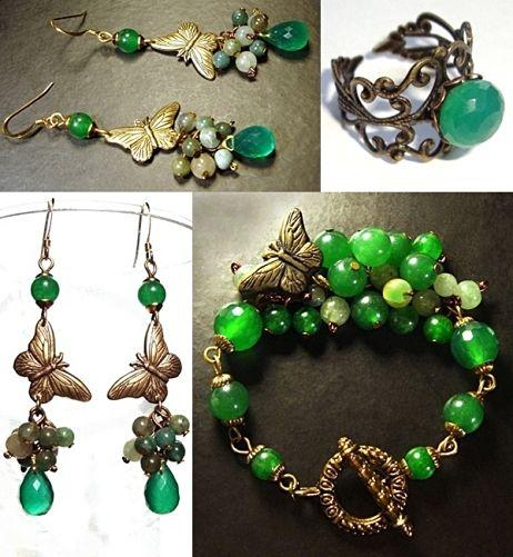 """""""Бабочки""""-украшения с натуральными камнями - Бижутерия своими руками. Какие материалы для этого необходимы. Мастер-классы по изготовлению."""