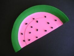 paper plate watermelon: Watermelon Crafts, Summer Crafts, Plates Watermelon, Summertime Crafts, Crafts Ideas, Playtim Palooza, Kids Crafts, Paper Plates, Plates Playtim