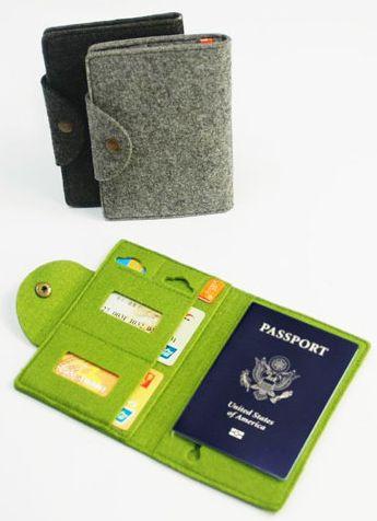 Graduation Gifts for Travel & Adventure: Felt Passport Holder by Lavie Vert at Etsy