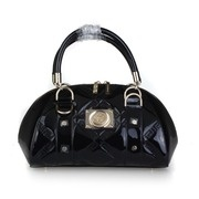 Versace Quilted Greek Key Patent Leather Bowler Bag - Black