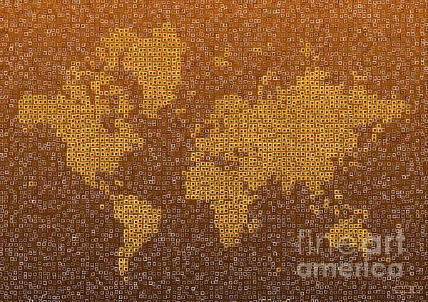World Map Kotak In Brown by elevencorners. World map wall print decor. #elevencorners #mapkotak
