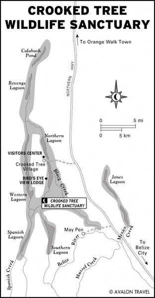 Crooked Tree Wildlife Sanctuary Map
