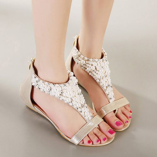 Gorgeous Pearl Beaded Sandals in Gold