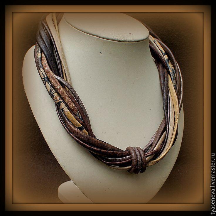 Купить Колье из коричневой кожи Плетеное 82 - коричневый, бижутерия из кожи, Бижутерия