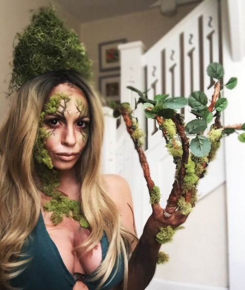 Mother Earth and her tree arm and moss crown! MAkeup by Chriss Knight #FacesbyChriss