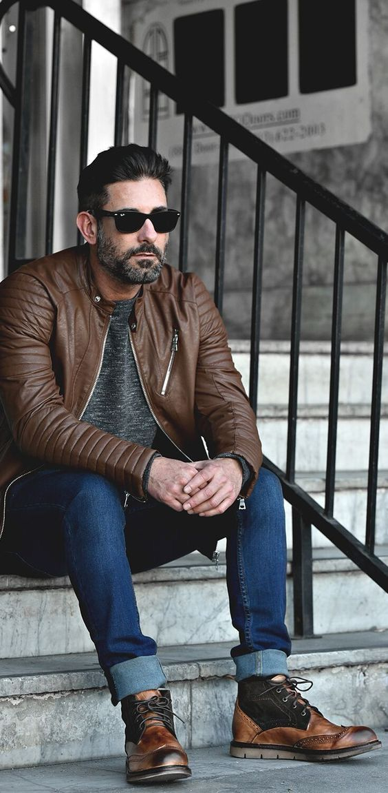 a32e511f81be Fall combo inspiration brown motocycle leather jacket gray marbled t shirt  dark wash denim sunglasses black brown colorway on the wingtip boots   fallfashion ...