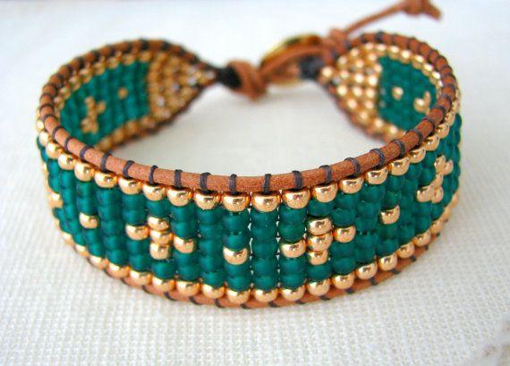 Grano telar abrigo pulsera - pulsera de cuentas verde y oro Esmeralda                                                                                                                                                                                 Más