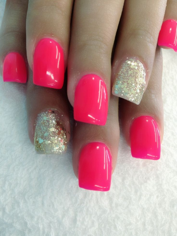Nail With Hot Pink And Gold Glitter.