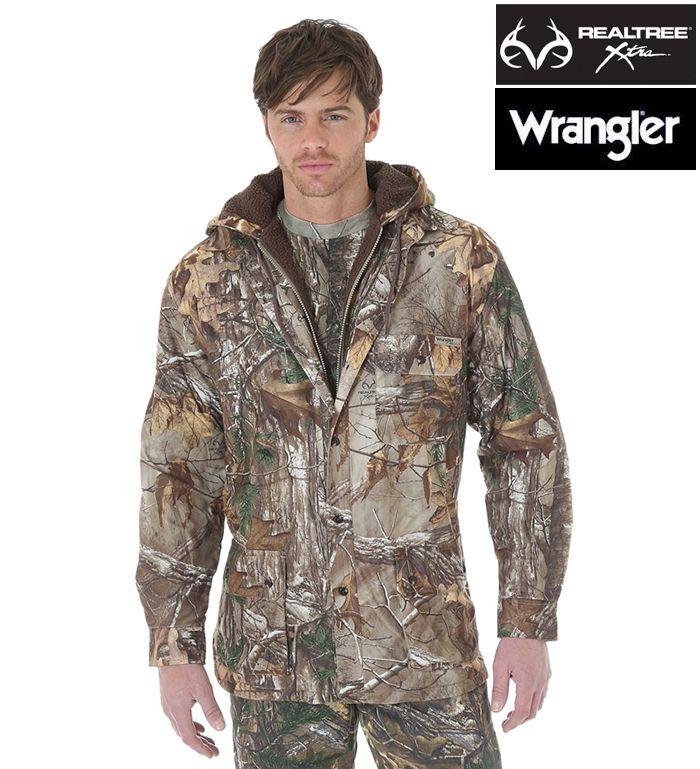 New wrangler progear realtree xtra fleece lined camo for Realtree camo flannel shirt