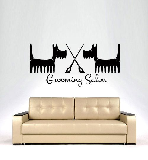 Wall Decals  Dog Grooming Salon Decal Vinyl Sticker  Pet Shop Scissors  Home Decor Interior Design Art Mural MN345
