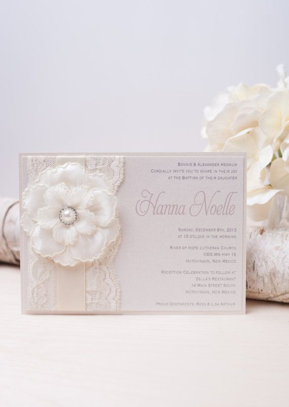 HANNA: Ivory Pearl Lace Baptism Invitation, Unique Flower Invitation, White Baby Shower Invitation, Cream Invitation
