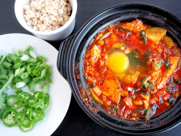 My favorite soup: Soft Tofu Stew (Soondubu Jjigae). Best with shrimp ...