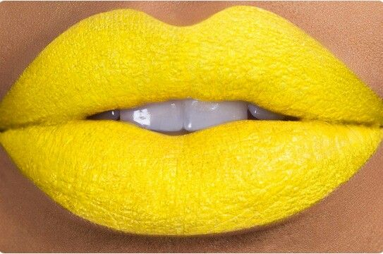 Yellow lipstick.. slightly disturbing - it's my favorite color. What a shame.