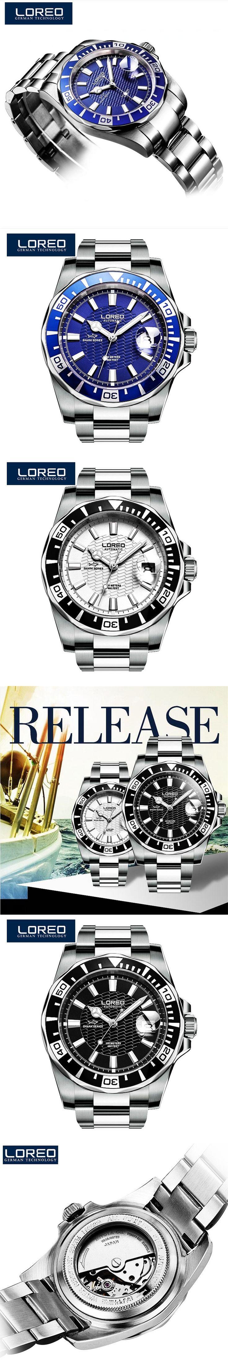 LOREO Automatic Mechanical Movements Watch Men Stainless Steel 200m Waterproof Diver Relogio Feminine Luminous Watch K33