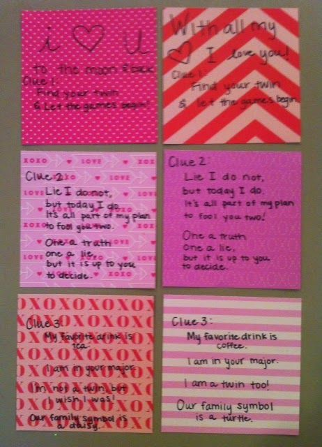 Sorority Scavenger Hunt Clues - for twin big/little reveal!