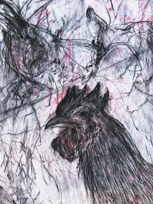 Mark the Rooster, charcoal & gesso on Canvas
