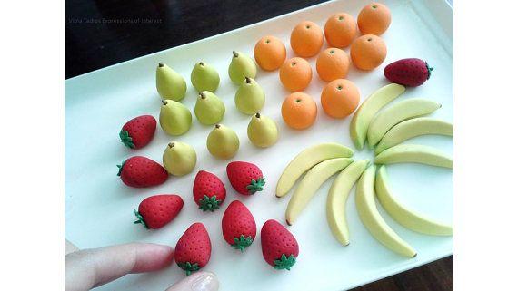 Gumpaste Fruit, Strawberry, Orange, Pear, Banana, Sugar Fondant Fruit