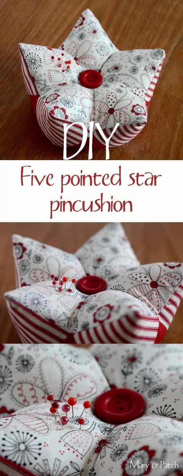 Quilted Gift Ideas # 18: Almofada 5-Pointed do Pin da estrela |  Idéias Quilted Presente fácil você pode costurar para seus amigos da menina