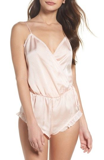 75211c16cecf Free shipping and returns on Chelsea28 Love Notes Teddy at Nordstrom.com.  Luminous satin and charming ruffled trim combine on a cheeky romper that s  cute ...