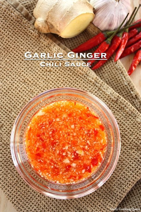 Garlic Ginger Chili Sauce  Garlic ginger chili sauce is one of the easiest chili sauce to make and is the perfect accompaniment for a lot of Chinese dishes, and is especially suited for Hainanese chicken rice and steamed chicken.   See the recipe at my site.
