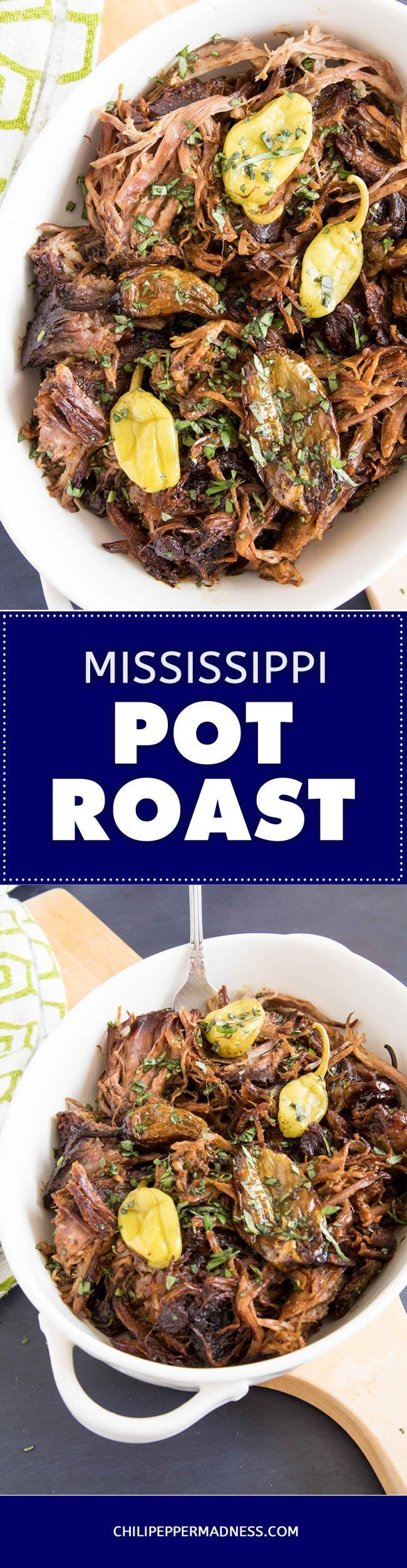 Famous Mississippi Pot Roast - A recipe for making the practically infamous slow cooker beef roast that took the Internet by storm! Delicious and fork tender, made with chuck roast, pepperoncinis and loads of seasonings.  #recipe #recipeoftheday #recipeideas #recipesharing #chilipeppermadness #spicyfood #spicylife #delish #tasty #foodblogeats #dinner #spicy #recipes #ilovecooking #feedfeed #buzzfeast #cookit #thekitchn