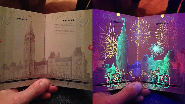 AND HERE'S WHAT THEY LOOK LIKE UNDER BLACK LIGHT:   If You Didn't Know, The Canadian Passport Under Black Light Is A