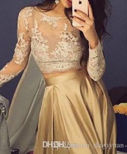 Dos piezas de vestidos de baile de largo mangas de encaje de encaje de encaje de encaje de cuello esmerilado satén de longitud del piso Ocasiones especiales vestido de fiesta