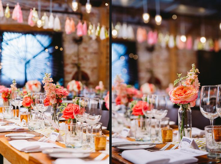 Beautiful Table Decor for the Reception *Pink and Blush* - Archeo; Distillery Events http://www.fusion-events.ca/