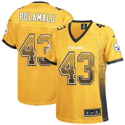 52a2ac2d3 ... Nike Steelers 43 Troy Polamalu Gold Womens Embroidered NFL Elite Drift  Fashion Jersey!