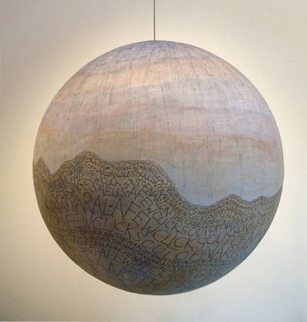 Russell Crotty, Vandenberg, 2013, Ink and gouache on paper on fiberglass sphere, 12 X 12 X 12 inches