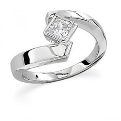 This very modern and fashionable 1/2 carat designer engagement ring has a high quality Princess Cut Diamond set in an artistic, 14K white gold setting that is both beautiful and unique. This solitaire diamond has very good clarity and color at a sharply reduced price. It's so pretty, it's hard to believe someone would send it back.