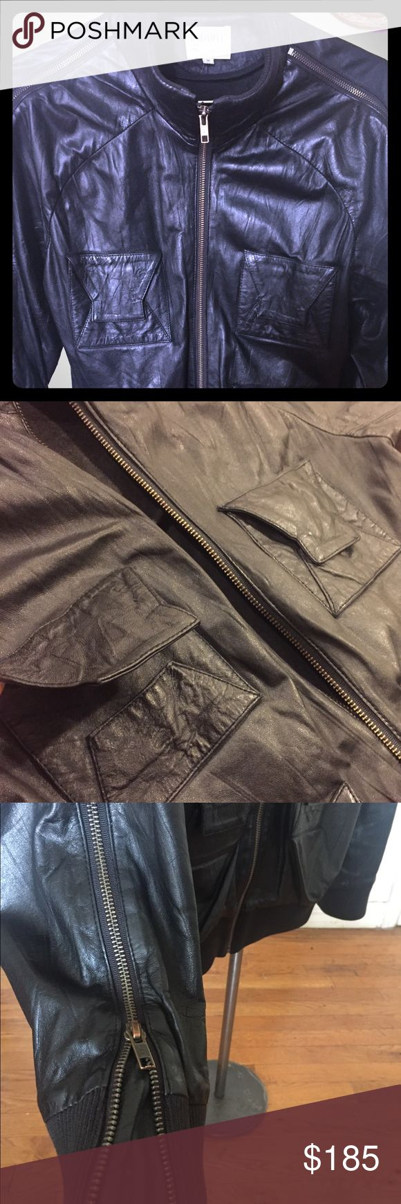 """Rodarte for OPENING CEREMONY Men's black 100% leather jacket with rib knit bomber trimmings. Size M.   Description: -Used 