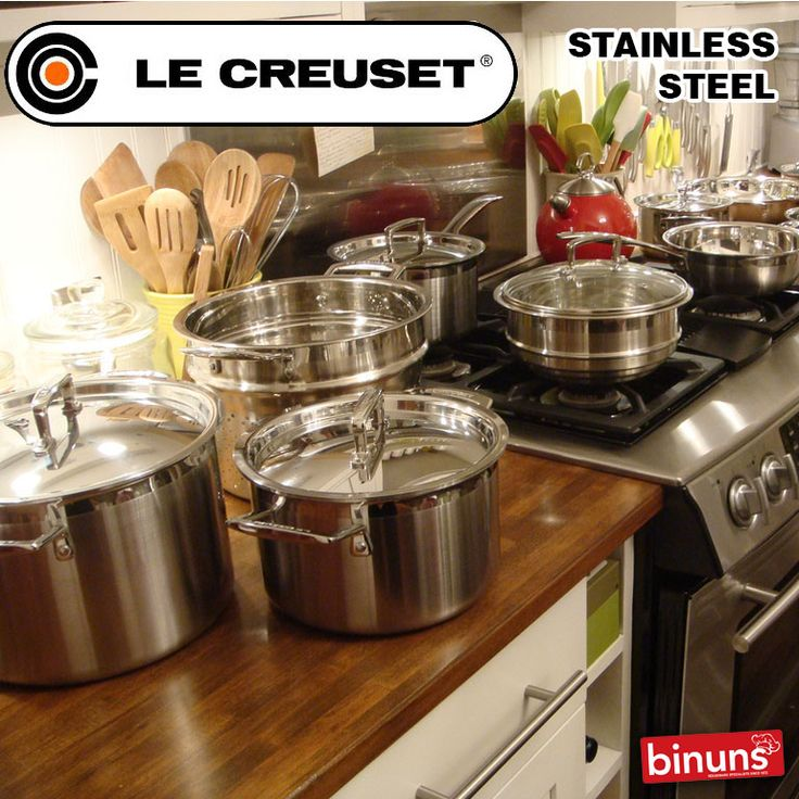 LE CREUSET'S STAINLESS STEEL  Le Creuset's 3 ply Stainless Steel range is state-of-the-art multi-layering technology combining the cooking benefits of stainless steel and aluminium. The range is suitable for use on all heat sources including induction, oven safe to 220 Degrees C and dishwasher safe.   http://www.binuns.co.za/Brands/LeCreuset/CookwareStainlessSteel.aspx