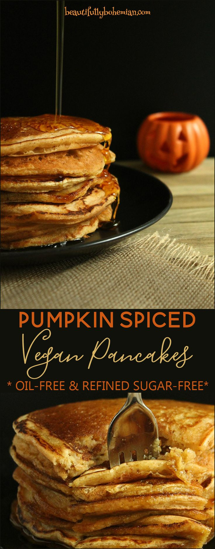 """Oh yes. What better way to welcome in the new fall season than with these HEAVENLY mouth-watering Pumpkin Spiced Vegan Pancakes drizzled with warm maple syrup? I'm drooling already. While it's not even close to feeling like """"fall"""" here in the south, I'm definitely one of those people who still scoots around in flip flops … Continue Reading"""