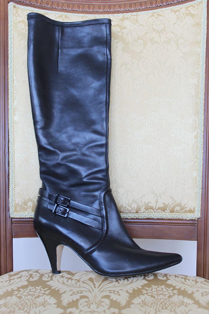 Кожаные черные Сапоги Кларкс. 38 размер. Удобный каблук. Высокое голенище. 600грн