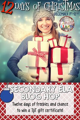 The Literary League's 12 Days of Christmas includes 12+ seasonal and year round freebies for secondary English Language Arts teachers and a giveaway for a TPT gift certificate. Enter December 1st - December 12th.
